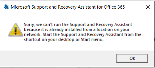 sorry we can't run the support and recovery assistant because it is already installed